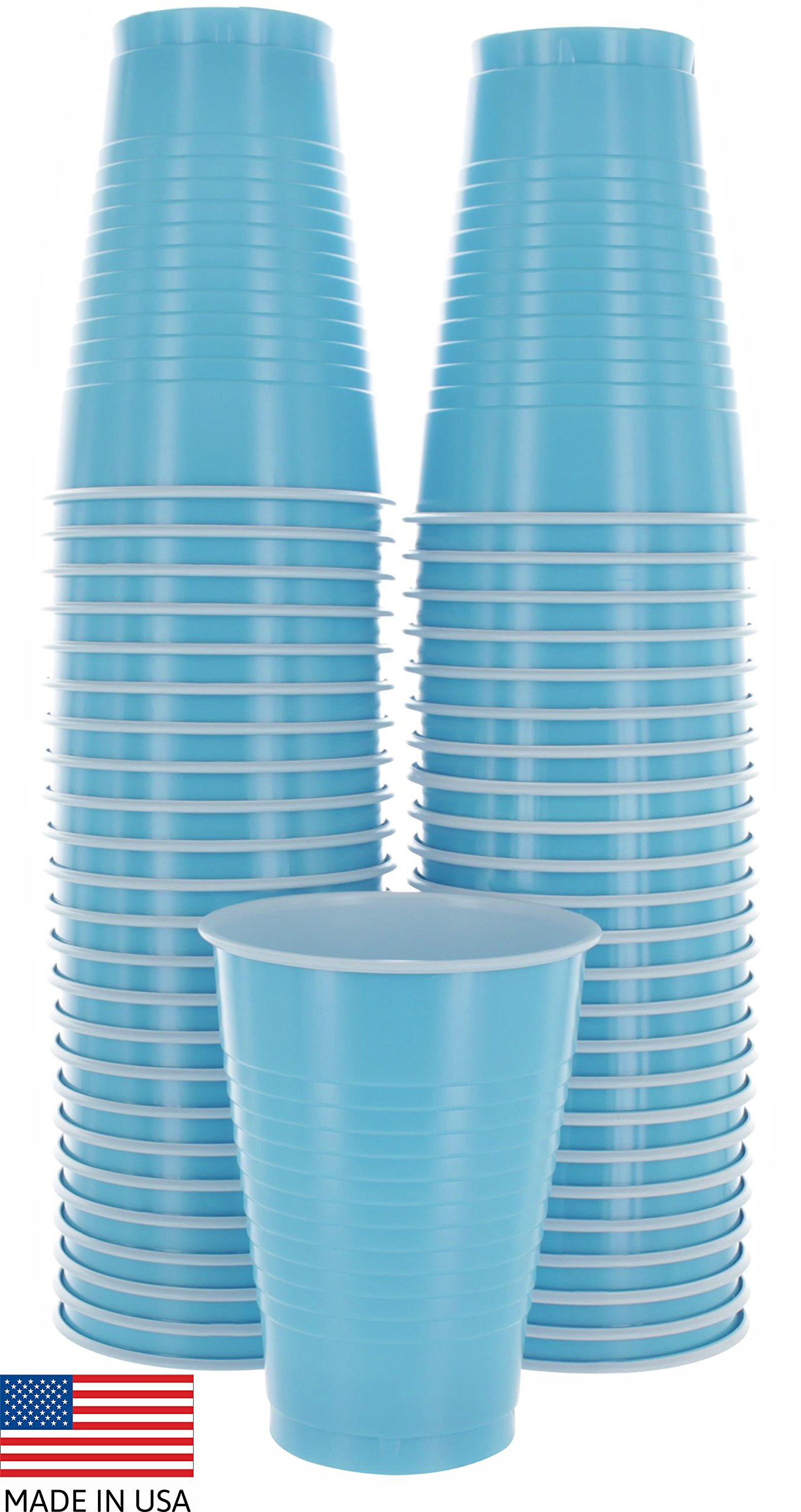 Amcrate Light Blue Colored 12-Ounce Disposable Plastic Party Cups - Ideal for Weddings, Party's, Birthdays, Dinners, Lunch's. (Pack of 50)