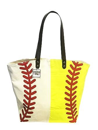 092369a4be Amazon.com  Baseball Softball Canvas Tote Bag Handbag Large Oversize Sports  20 x 17 Inches  XOXO