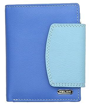 ad71af0a8139f Felda - Damen Geldbörse aus Echtleder - Kartenfächer   Münzfach - RFID- Blocker - Blau