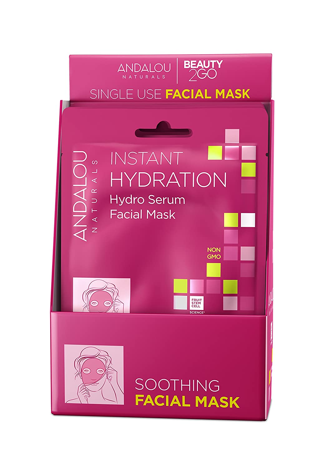 Andalou Naturals Instant Hydration Hydro Serum Facial Mask, Single Face Mask, 0.6 Ounce (Pack of 6)