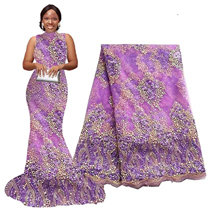 ef5b34747a 5 Yards African Lace Fabrics Nigerian French Beaded Tulle Fabric (purple)