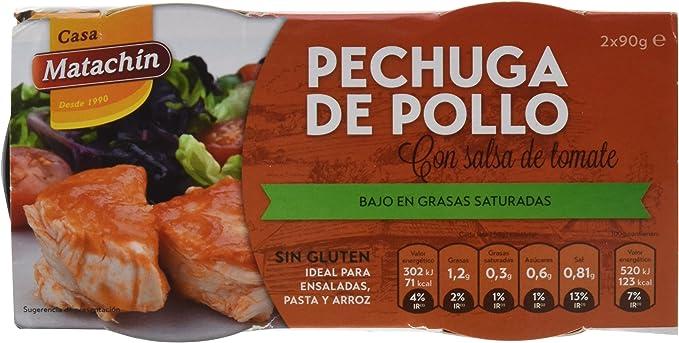 Casa Matachín Conserva Cárnica de Pechuga de Pollo con Tomate - Paquete de 16 x 180 gr - Total: 2880 gr