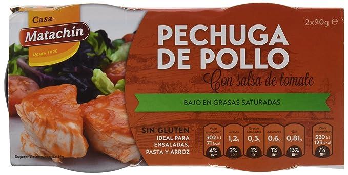 Casa Matachín Conserva Cárnica de Pechuga de Pollo con Tomate - Paquete de 16 x 180