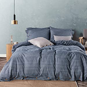 JELLYMONI Pinstriped 100% Washed Cotton Duvet Cover Set, 3 Pieces Luxury Soft Bedding Set with Buttons Closure, Blue Stripes Pattern Printed Duvet Cover King Size(No Comforter)