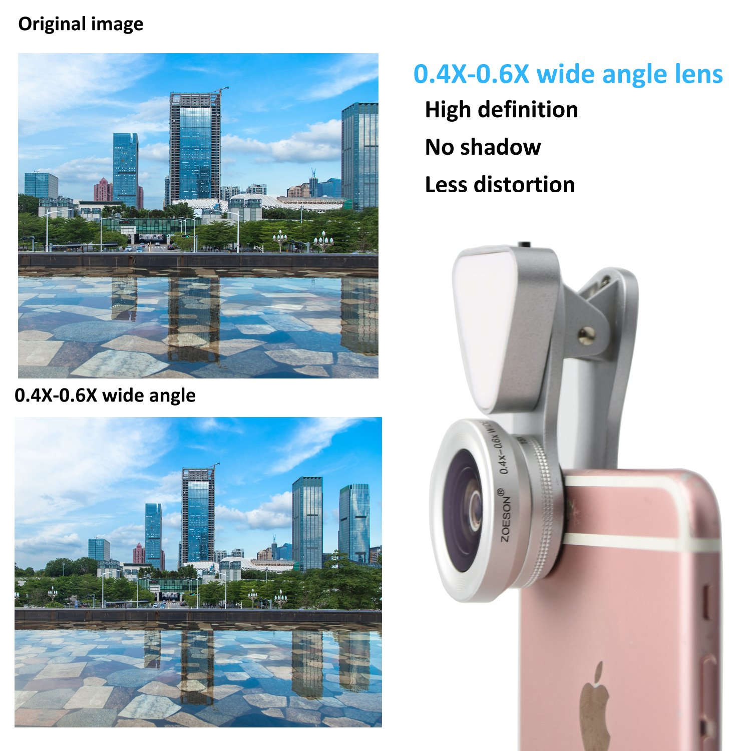 Zoeson 3 in 1 Flash light Plus 15 X Macro Lens Plus 0.4-0.6 x Super Wide Angle Lens Galaxy /& Most Smartphones Rose gold Clip on Cell Phone Lens Camera Lens Kits for Iphone 6s 5s 6