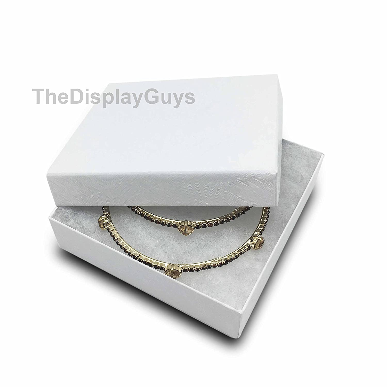 8x2x1 inches #82 The Display Guys Pack of 25 Cotton Filled Cardboard Paper White Jewelry Box Gift Case