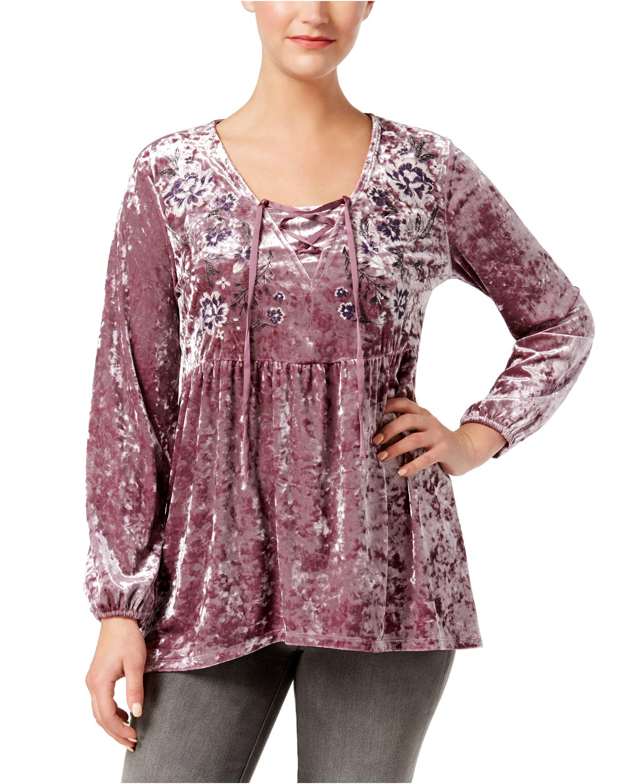 Style & Co. Women's Crushed Velvet Peasant Top (Mauve, Large)