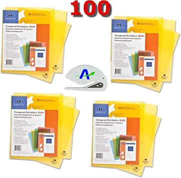 Business Source Transparent Poly File Holders Pack of 100 Bundled with Opener