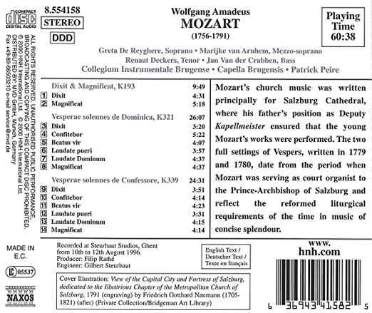 Solemn Vespers: Collegium Instrumentale Brugense, Wolfgang Amadeus Mozart: Amazon.es: Música