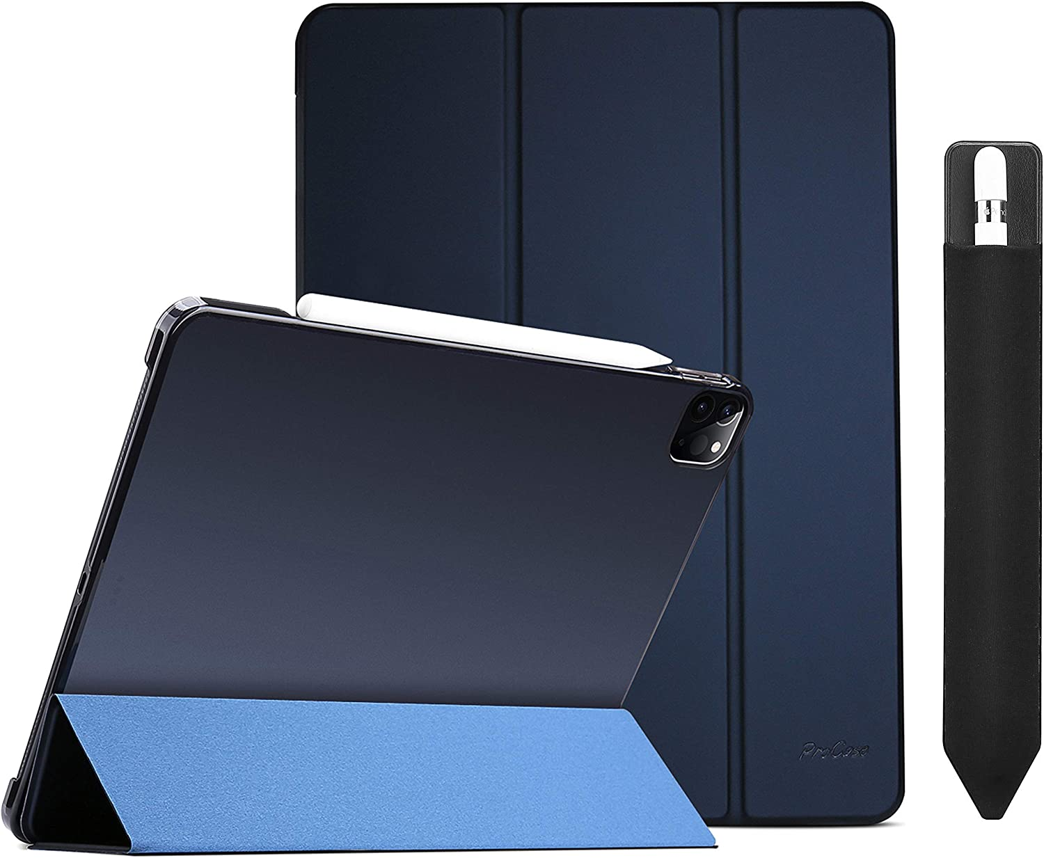 ProCase Navy iPad Pro 12.9 Slim Case 4th Generation 2020 & 2018 Bundle with Black Pencil Holder Sticker for Apple Pencil 1st and 2nd Gen