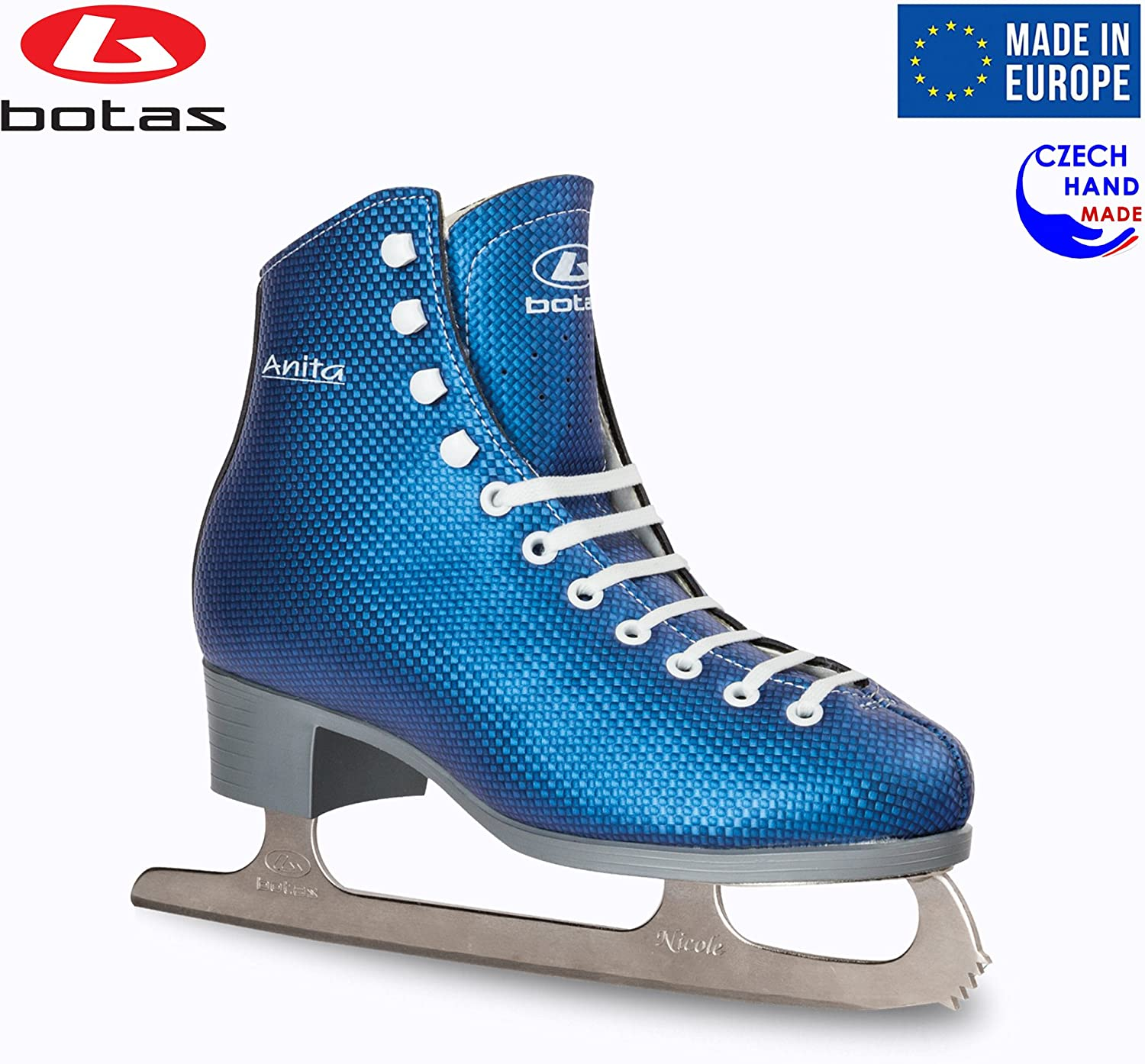 Botas - Model: Anita/Made in Europe (Czech Republic) / Figure Ice Skates for Women, Girls/Nicole Blades/Blue Color