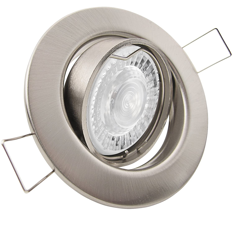 8er Set (3-8er Sets) Einbaustrahler DECORA; 230V GU10; SMD LED 7,5W = 70W; DIMMBAR; Neutral-Weiß; EDELSTAHL OPTIK gebürstet; schwenkbar, Leuchtmittel austauschbar; Einbauleuchte Downlight