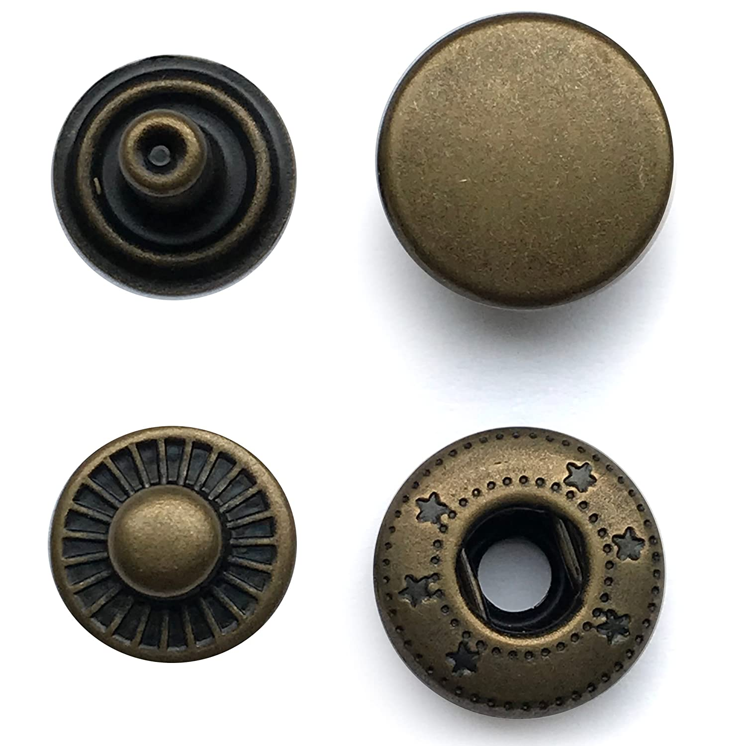100 sets of 15mm snaps in Antique Brass colour. Nickel Free Poppers, Snap fasteners, Press studs for Sewing, Leather craft. Belts, Clothes or Bags. Solid Brass Material.