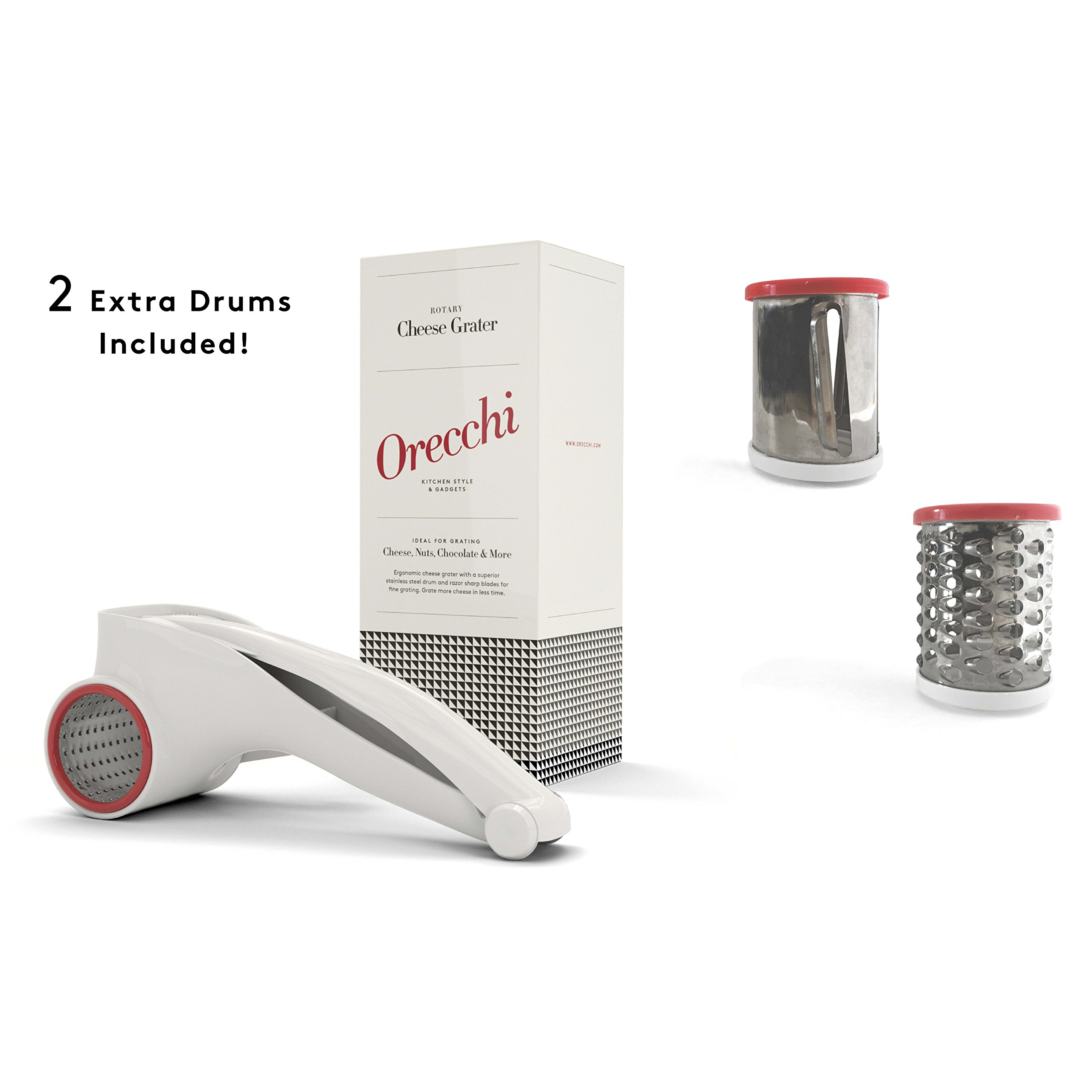 Orecchi Rotary Cheese Grater with Three Interchangeable Drums - Vegetable Cutter Slicer and Shredder