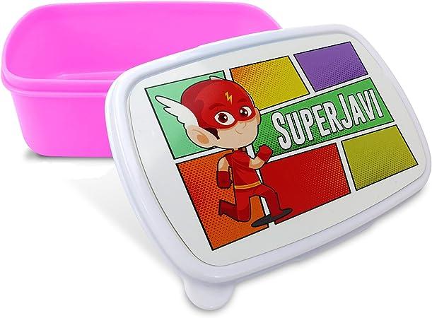 Caja de merienda Infantil Personalizada con Nombre o Foto. Guardería. Regalo Original Rosa: Amazon.es: Hogar