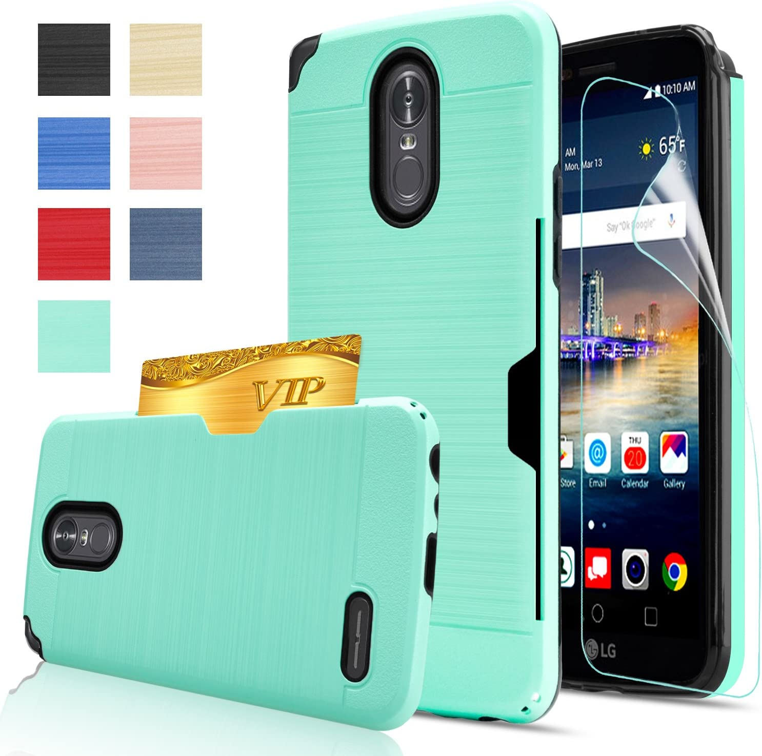 LG Stylo 3 Case,LG Stylo 3 Plus Case,LG Stylus 3 case with HD Screen Protector,AnoKe[Card Slots Holder][Not Wallet] Plastic TPU Hybrid Shockproof for LG LS777 KC2 Mint
