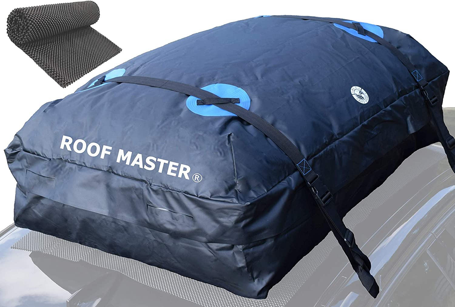 P.I. AUTO STORE ROOFMASTER Rooftop Cargo Carrier for All Cars & Automobiles with or Without Roof Rack. Unique Waterproof Design - 16 Cu ft Roof Bag. Includes Roof Top Mat