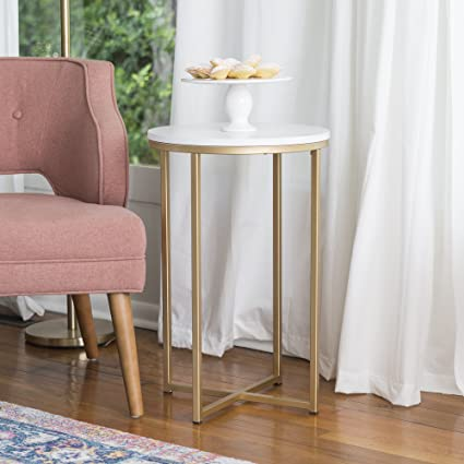 WE Furniture 16u0026quot; Round Side Table   Faux Marble/Gold