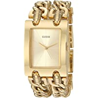 GUESS Gold-Tone Multi-Chain Bracelet Watch with Self-Adjustable Links. Color: Gold-Tone (Model: U1117L2)