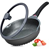 Vinchef Nonstick Skillet with Lid, 11In/5Qt Aluminum Non Sticking Frying Pan with Heat Indicator, Anti Scratch and Anti Stain