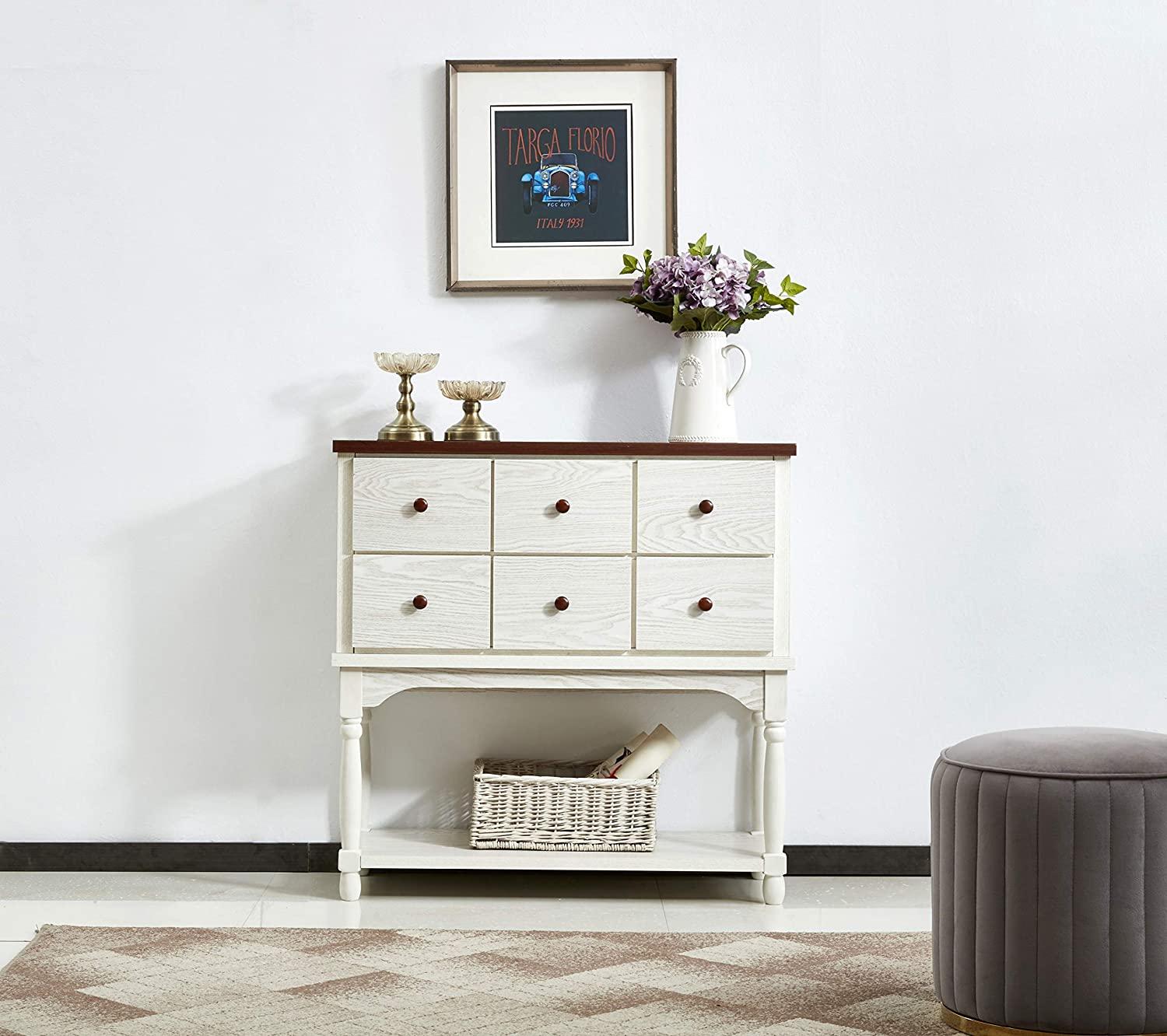 Mixcept Solid Wood Sideboard Buffet Server Cabinet Kitchen Dining Room Cupboard Console Table with 6 Drawers,Walnut +White Wash