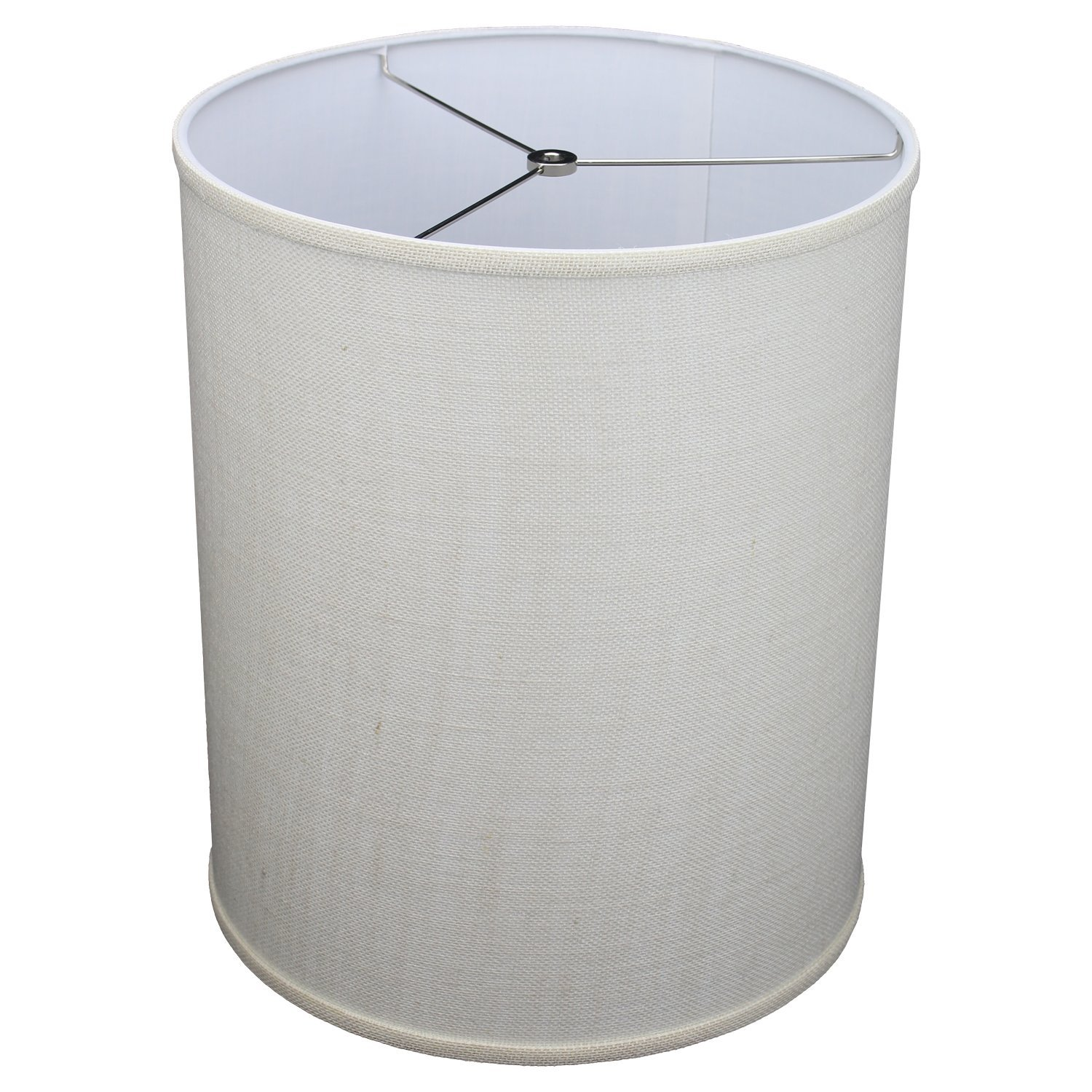 FenchelShades.com 14'' Top Diameter x 14'' Bottom Diameter 17'' Height Cylinder Drum Lampshade USA Made (Burlap Off White) by FenchelShades.com