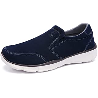 CAMEL CROWN Mens Leather Loafer Comfortable Sneakers Lightweight Slip On Walking Shoes Casual House Shoes Slippers for Men Navy Blue Size 9