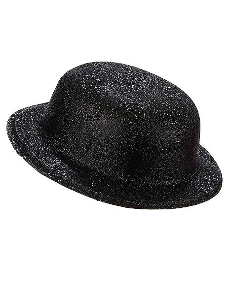 Generique - Cappello bombetta in plastica con paillettes nero per Adulto 1540ec758f5f