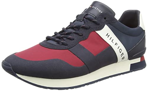ac2101d84de02 Tommy Hilfiger Men s s Printed Material Mix Runner Low-Top Sneakers Blue  (RWB 020)