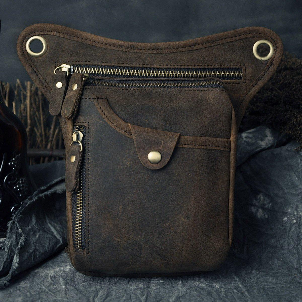 Le'aokuu Mens Genuine Leather Messenger Riding Hip Bum Waist Pack Drop Leg Cross Over Bag (The Black)
