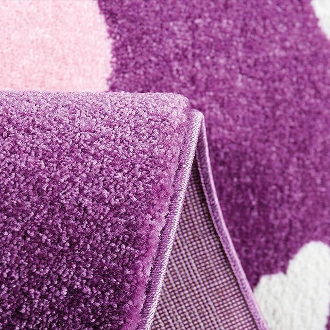 Kinderzimmer Teppich Modern Pink Lila Flauschig Blumen