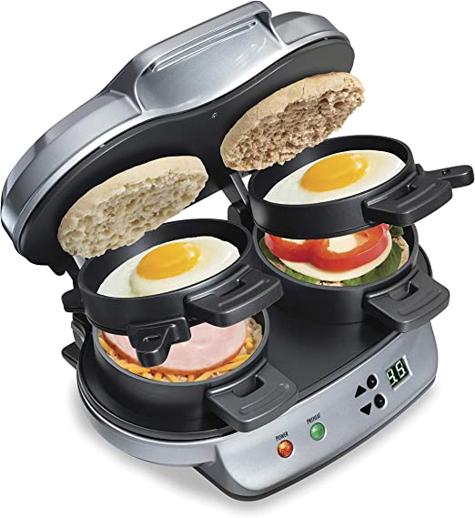 Amazon Com Hamilton Beach Dual Breakfast Sandwich Maker With Timer Silver 25490a Kitchen Dining