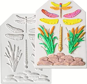 HengKe 2 Pcs Dragonflies Silicone Icing Mold, Non-Stick Food Grade Silicone Molds, Creative Cake System for Decorating, Chocolate,Polymer Clay,Soap,Sugarpaste, Fondants, Candies and Crafts