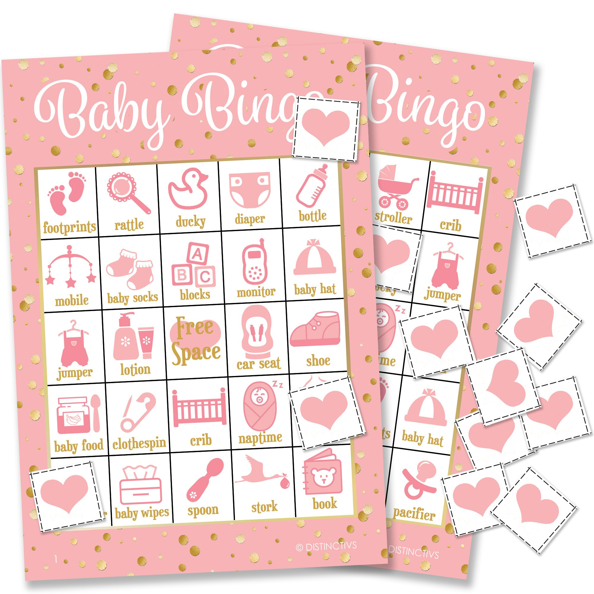It's a Girl Baby Shower Bingo Game, Pink and Gold - 24 Guests by DISTINCTIVS