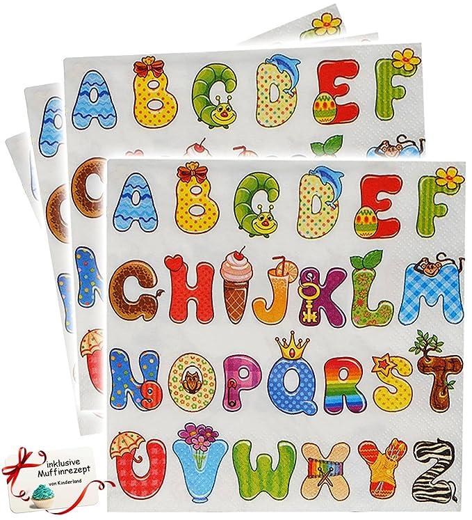 """ABC // Alphabet /"""" Teller zum Schulanfang // Ge Set /_ Pappteller /"""" Buchstaben"""