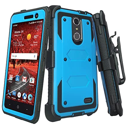 new arrival 6e267 feb90 [GALAXY WIRELESS] For ZTE ZMAX One (Z719DL) Case,ZTE Grand X4 Case,ZTE  Blade Spark Z971 Case [Shock Proof] Heavy Duty Belt Clip Holster,Full Body  ...