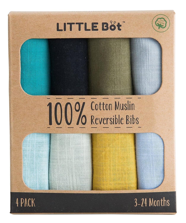 Little Bot Muslin Reversible Bandana Bib. 100% Muslin Cotton. 4 Pack. Little Bot Inc.