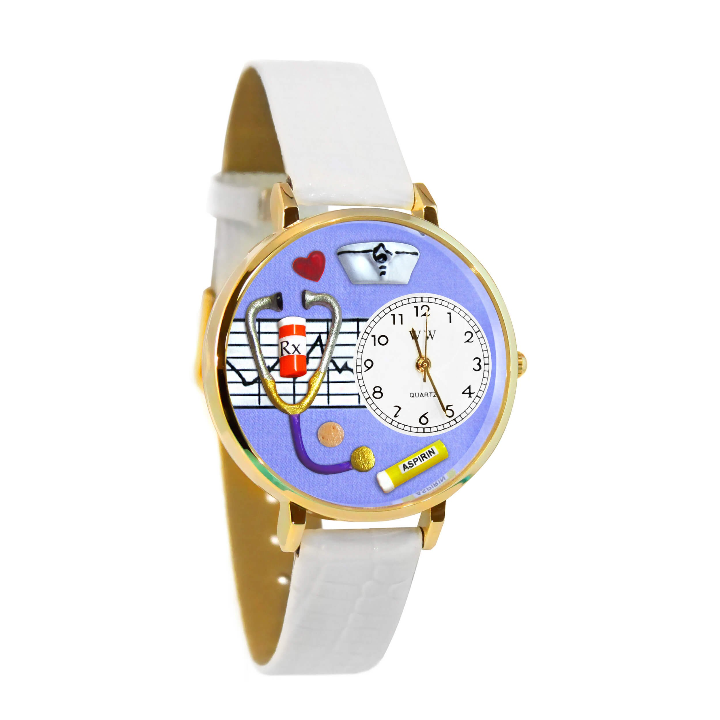 Whimsical Watches Women's G0620042 Unisex Gold Nurse Purple White Skin Leather And Goldtone Watch