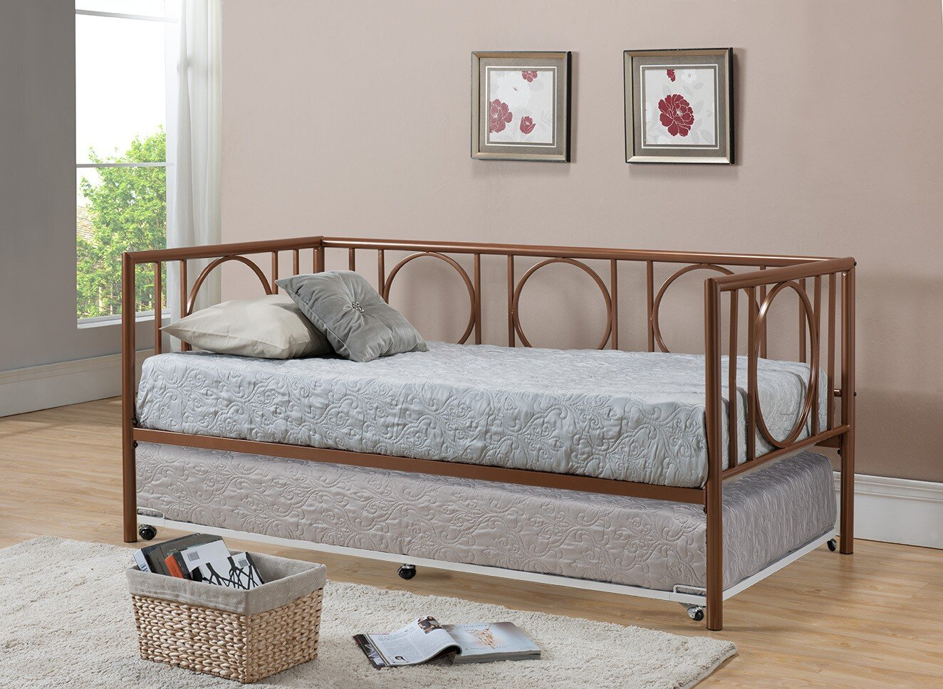 Amazon.com: Kings Brand Metal Astoria Day Bed (Daybed) Frame With Trundle  (Copper): Kitchen & Dining - Amazon.com: Kings Brand Metal Astoria Day Bed (Daybed) Frame With