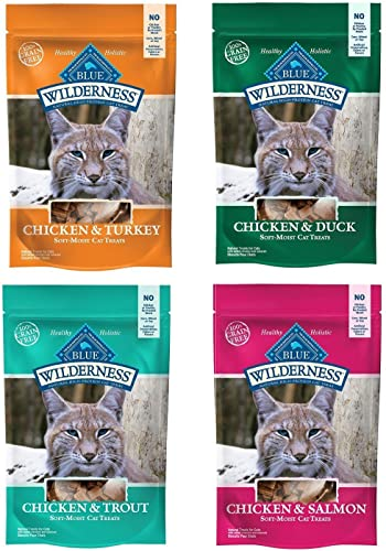 Blue Buffalo Wilderness Soft-Moist Grain-Free Cat Treats Variety Pack – 4 Flavors Chicken Duck, Chicken Trout, Chicken Salmon, and Chicken Turkey – 2 Oz Each 4 Total Pouches