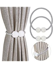 Pinowu Magnetic Curtain Tiebacks Convenient Drape Tie Backs (2 Pack) - Pearl Decorative Rope Holdback Holder for Small, Thin or Sheer Window Drapries (Gray)