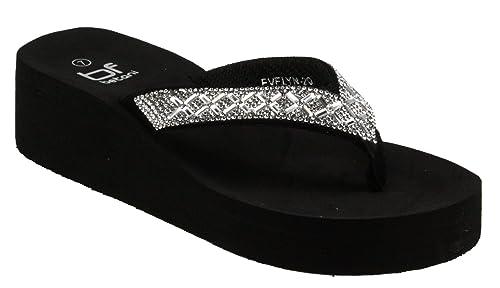 8049ec406f3 Betani Women s Evelyn-20 Platform EVA Foam Flip Flop Thong Wedge Beach  Sandals (.