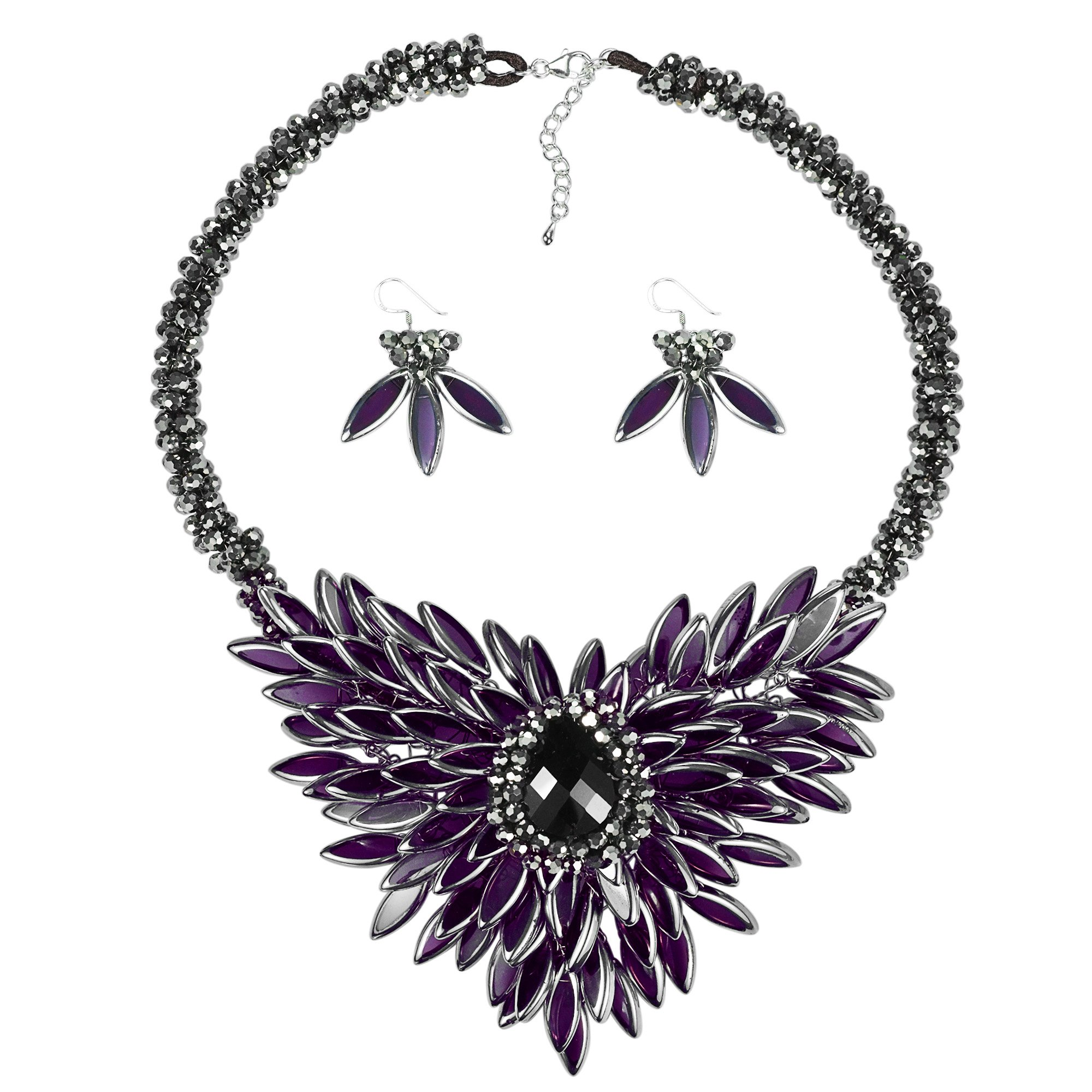 Baroque Hidden Floral Purple Glass Necklace and Earring Jewelry Set by AeraVida
