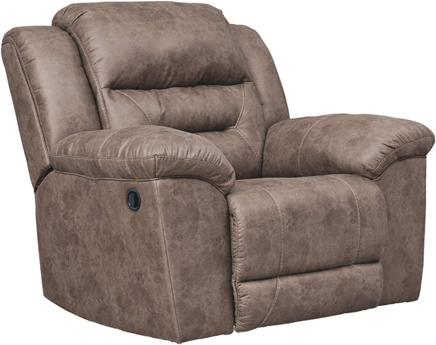 Signature Design by Ashley - Stoneland Faux Leather Rocker Recliner - Pull Tab Reclining, Light Brown