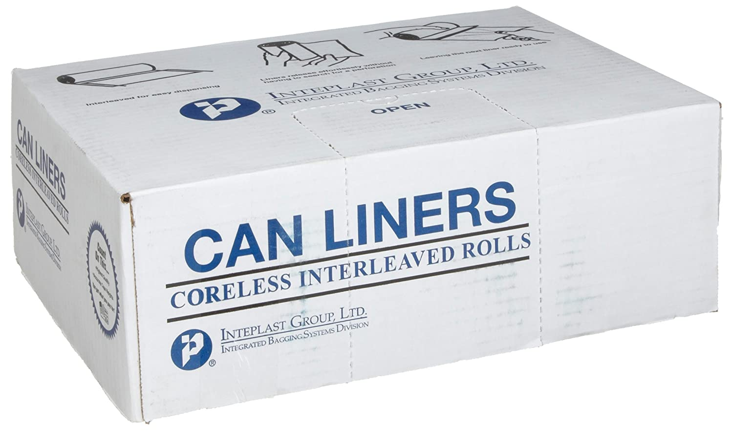 Black Color Inteplast Group S434822K 48 Length x 43 Width x 22 Mic Thickness Case of 6 Roll, 25 Bags per Roll HDPE Commercial Coreless Institutional Trash Can Liner
