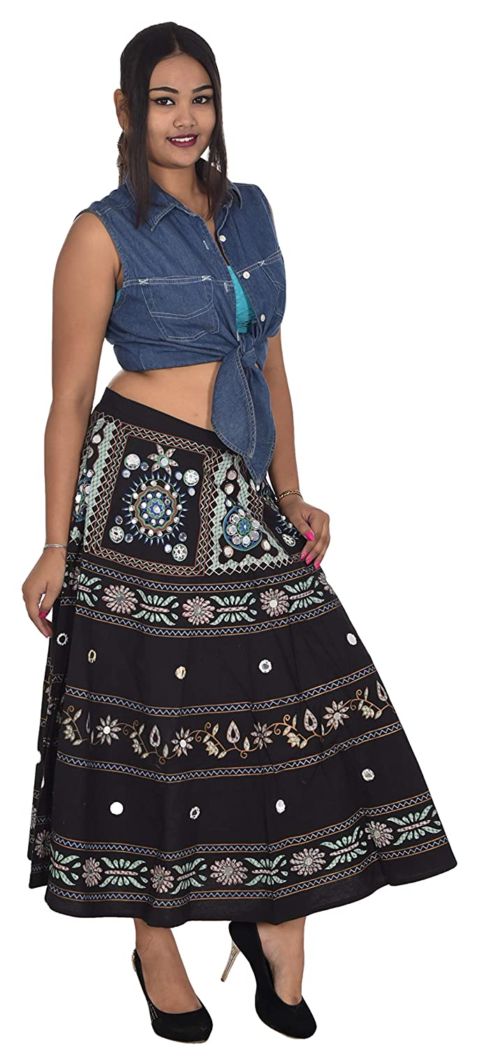 d1956debfa Lakkar Haveli 100% Cotton Indian Long Skirt Hippie Embroidered Women Plus  Size Black Color Mirror Work at Amazon Women's Clothing store: