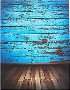 Mohoo Silk Vintage Blue Wood Floor Photography Backdrops Photo Props Studio Background 1.5x2.1m (Updated Material)