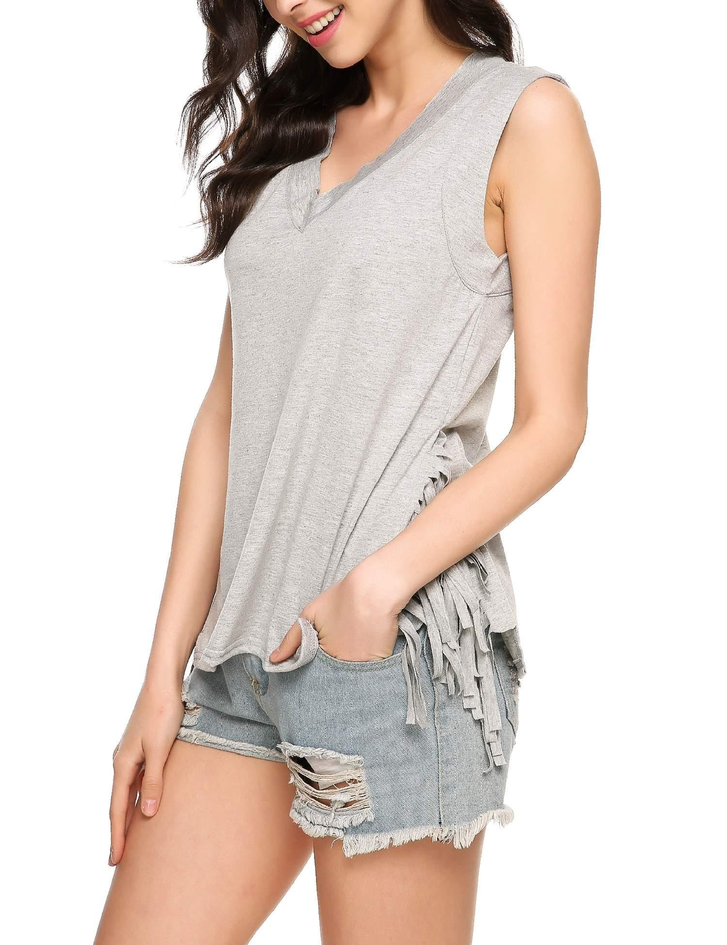 ELESOL Women V Neck Sleeveless Loose Fit Side Split Tassel Tank Top Gray XXL
