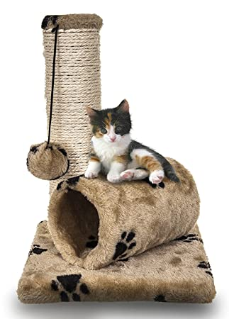 FiNeWaY Pequeño gato gato sisal rascador poste juguete con túnel y juego ratón mascota actividad: Amazon.es: Productos para mascotas