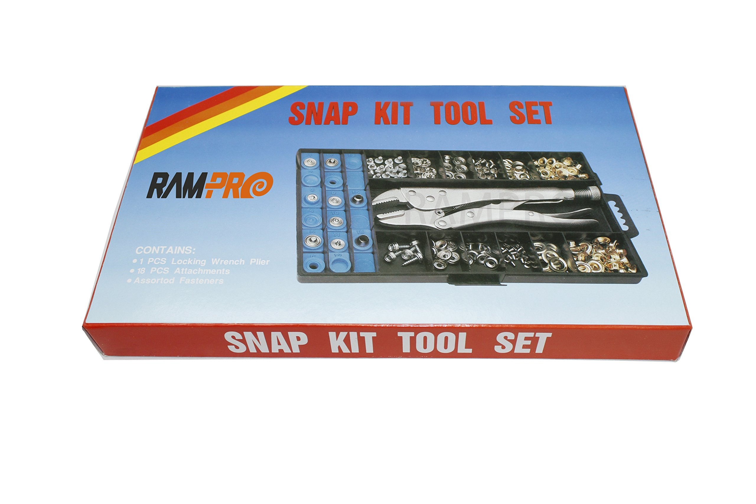 RAM-PRO Snap, Grommet, Rivet Tool Kit for Tarps Complete With Over 400 Pieces - Boat Covers, Canopies, Canvas Repair, Grommet Replacement by Ram-Pro (Image #1)